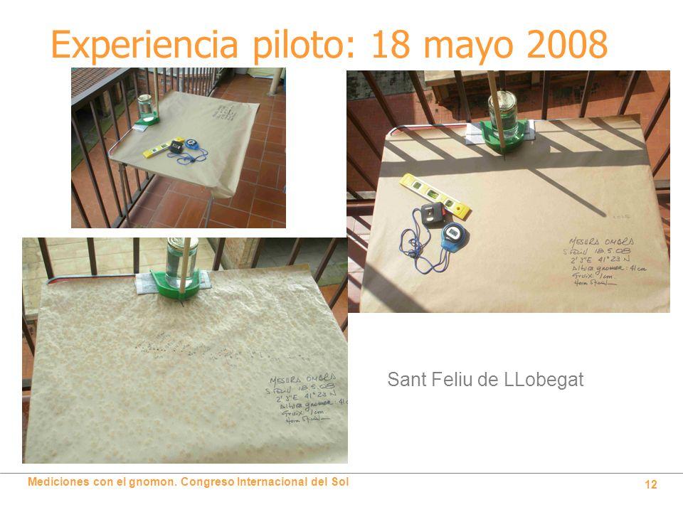 Mediciones con el gnomon. Congreso Internacional del Sol 12 Experiencia piloto: 18 mayo 2008 Sant Feliu de LLobegat