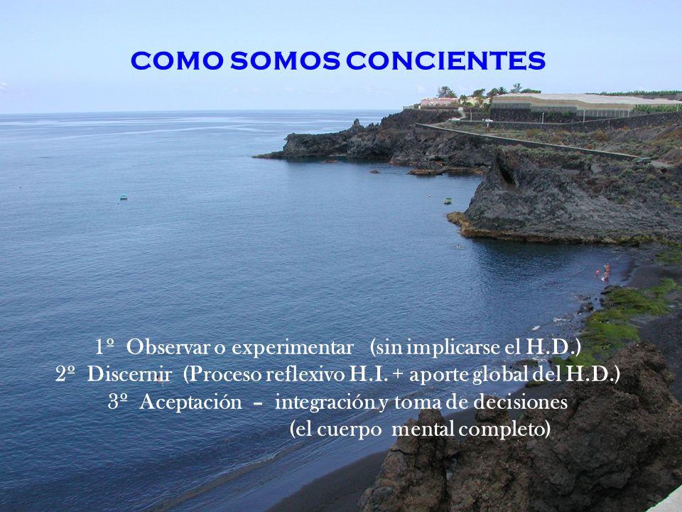 COMO SOMOS CONCIENTES 1º Observar o experimentar (sin implicarse el H.D.) 2º Discernir (Proceso reflexivo H.I. + aporte global del H.D.) 3º Aceptación
