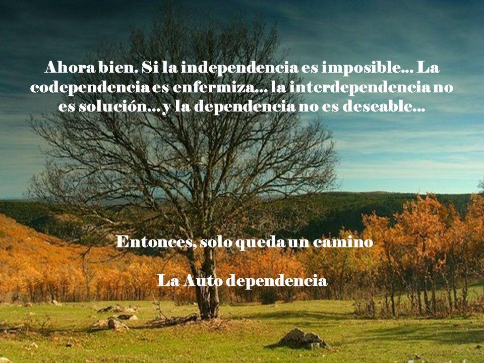 Ahora bien. Si la independencia es imposible... La codependencia es enfermiza... la interdependencia no es solución... y la dependencia no es deseable