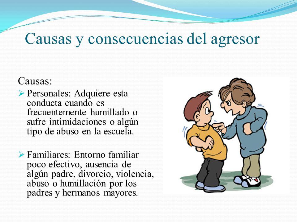 Causas y consecuencias del agresor Causas: Personales: Adquiere esta conducta cuando es frecuentemente humillado o sufre intimidaciones o algún tipo d