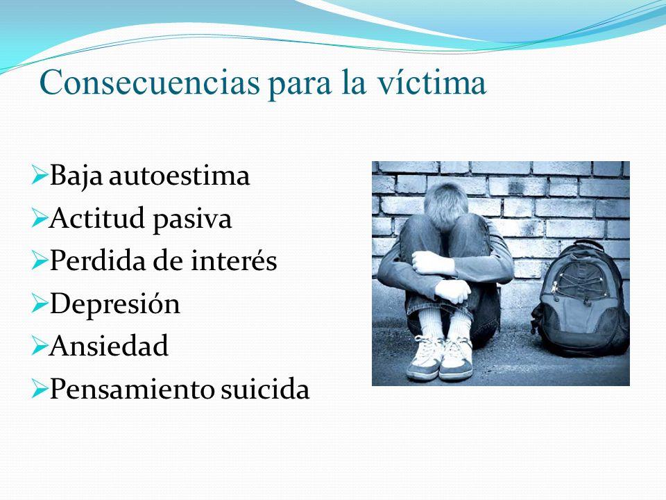 Consecuencias para la víctima Baja autoestima Actitud pasiva Perdida de interés Depresión Ansiedad Pensamiento suicida