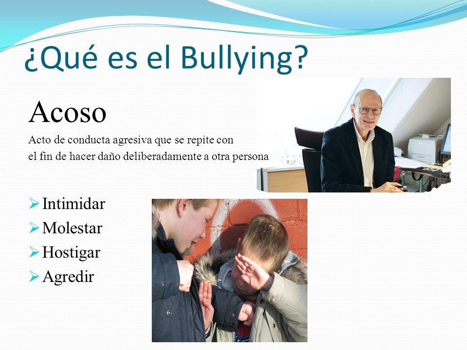 ¿Qué es el Bullying? Acoso Acto de conducta agresiva que se repite con el fin de hacer daño deliberadamente a otra persona Intimidar Molestar Hostigar