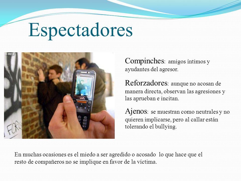 Espectadores Compinches : amigos íntimos y ayudantes del agresor. Reforzadores : aunque no acosan de manera directa, observan las agresiones y las apr