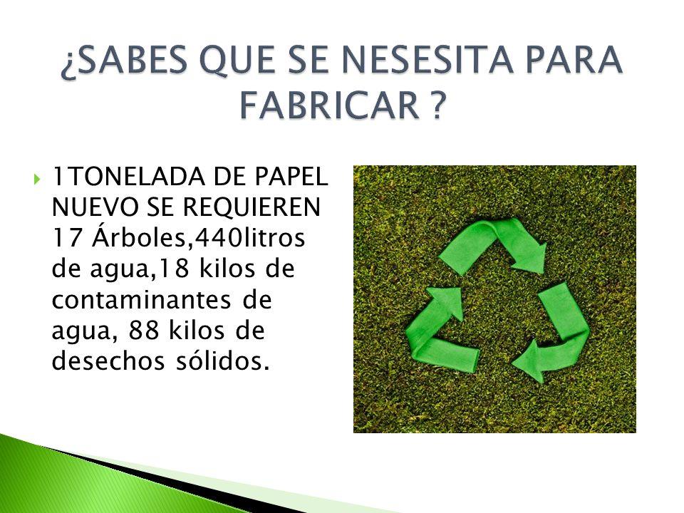 1TONELADA DE PAPEL NUEVO SE REQUIEREN 17 Árboles,440litros de agua,18 kilos de contaminantes de agua, 88 kilos de desechos sólidos.