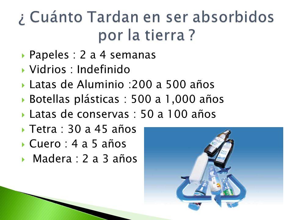 Papeles : 2 a 4 semanas Vidrios : Indefinido Latas de Aluminio :200 a 500 años Botellas plásticas : 500 a 1,000 años Latas de conservas : 50 a 100 año