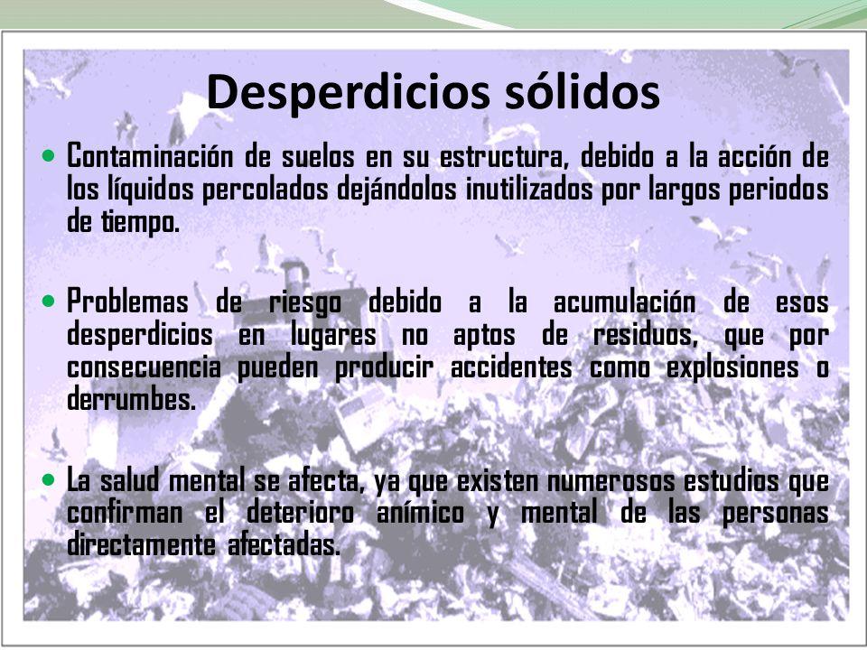 Desperdicios sólidos Contaminación de suelos en su estructura, debido a la acción de los líquidos percolados dejándolos inutilizados por largos period