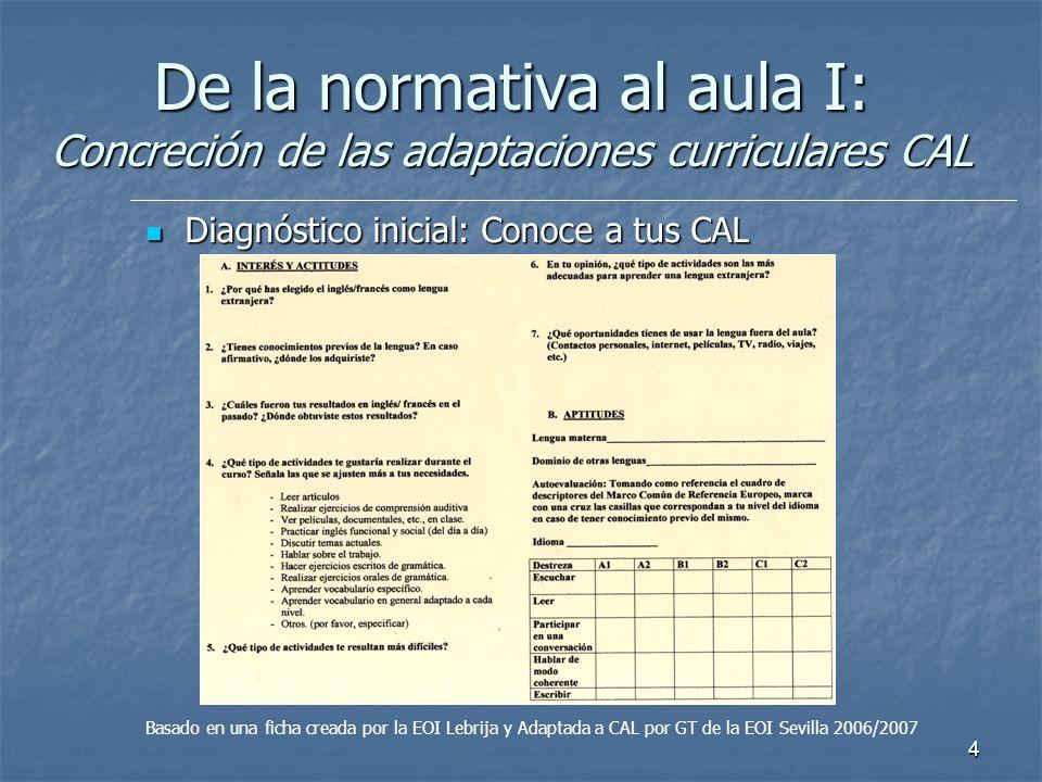 4 De la normativa al aula I: Concreción de las adaptaciones curriculares CAL Diagnóstico inicial: Conoce a tus CAL Diagnóstico inicial: Conoce a tus C
