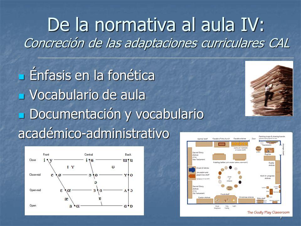 7 Énfasis en la fonética Énfasis en la fonética Vocabulario de aula Vocabulario de aula Documentación y vocabulario Documentación y vocabularioacadémi