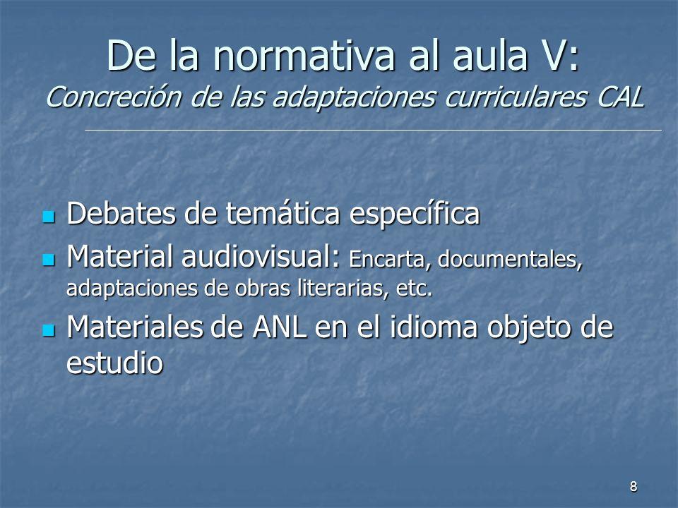 8 Debates de temática específica Debates de temática específica Material audiovisual: Encarta, documentales, adaptaciones de obras literarias, etc. Ma