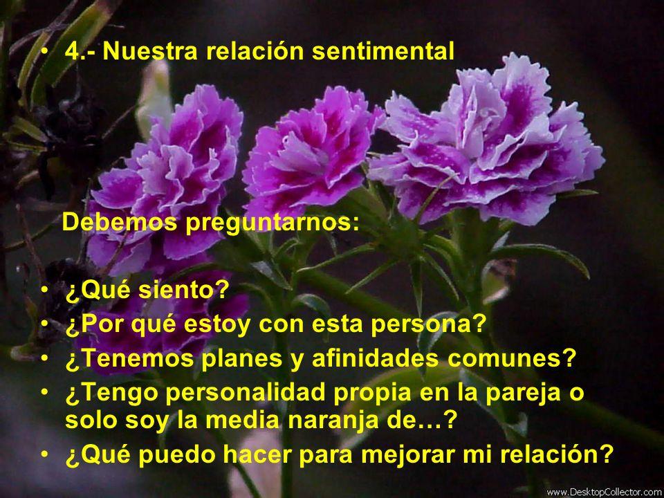 4.- Nuestra relación sentimental Debemos preguntarnos: ¿Qué siento? ¿Por qué estoy con esta persona? ¿Tenemos planes y afinidades comunes? ¿Tengo pers