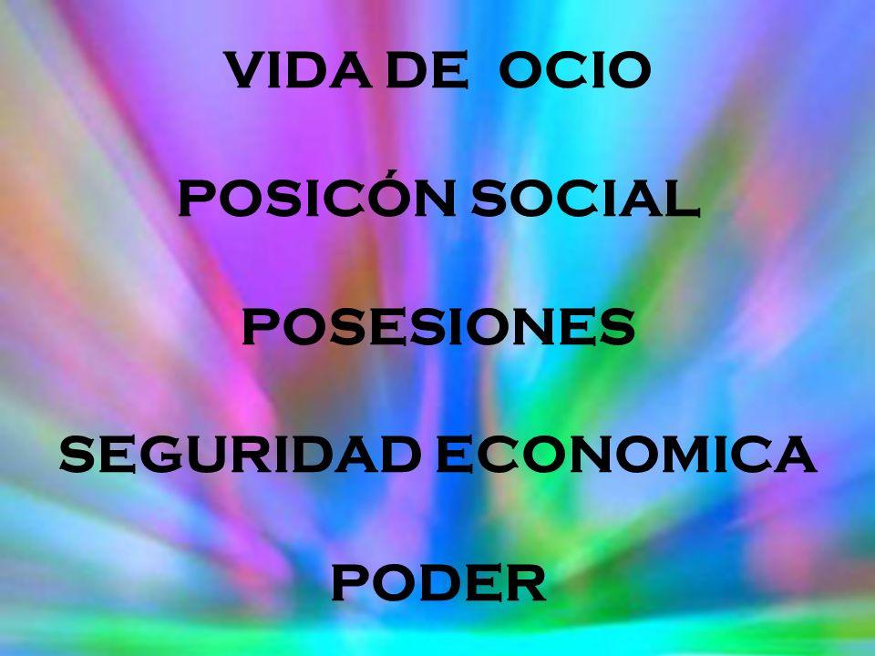VIDA DE OCIO POSICÓN SOCIAL POSESIONES SEGURIDAD ECONOMICA PODER
