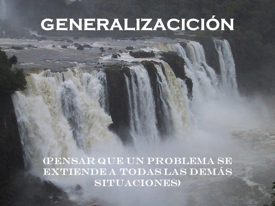 GENERALIZACICIÓN (Pensar que un problema se extiende a todas las demás situaciones)
