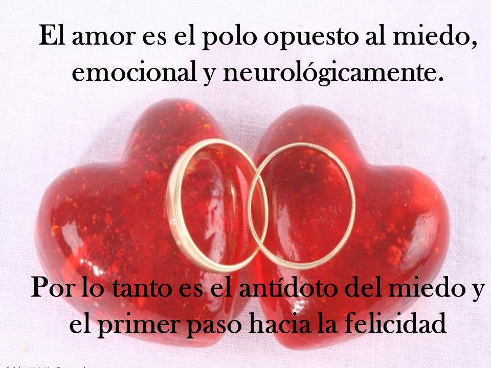 El amor es el polo opuesto al miedo, emocional y neurológicamente. Por lo tanto es el antídoto del miedo y el primer paso hacia la felicidad