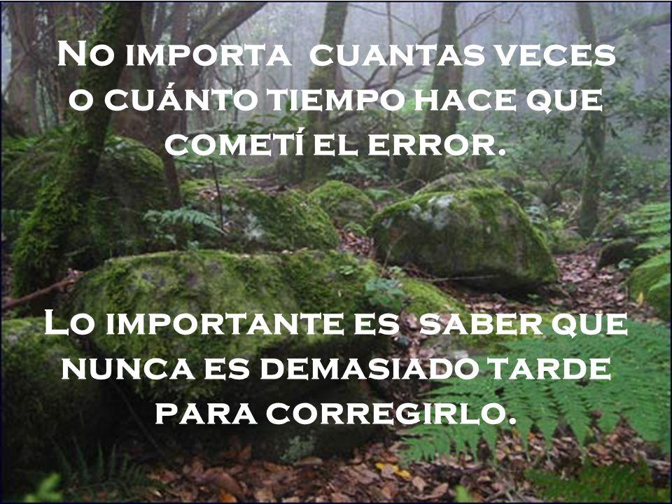 No importa cuantas veces o cuánto tiempo hace que cometí el error. Lo importante es saber que nunca es demasiado tarde para corregirlo.
