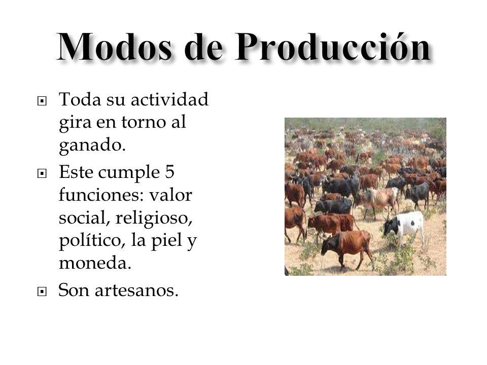 Toda su actividad gira en torno al ganado. Este cumple 5 funciones: valor social, religioso, político, la piel y moneda. Son artesanos.
