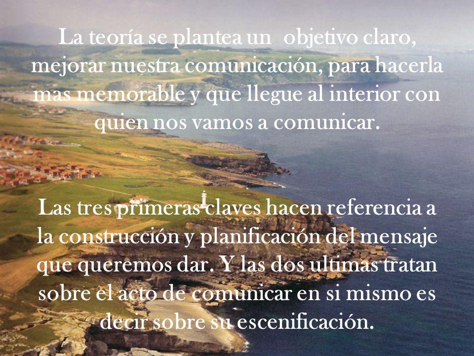 La teoría se plantea un objetivo claro, mejorar nuestra comunicación, para hacerla mas memorable y que llegue al interior con quien nos vamos a comuni