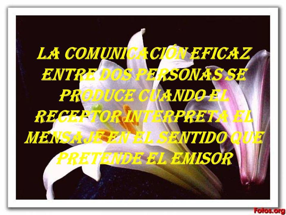 La comunicación eficaz entre dos personas se produce cuando el receptor interpreta el mensaje en el sentido que pretende el emisor