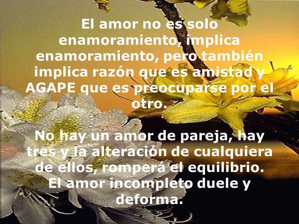 El amor no es solo enamoramiento, implica enamoramiento, pero también implica razón que es amistad y AGAPE que es preocuparse por el otro. No hay un a