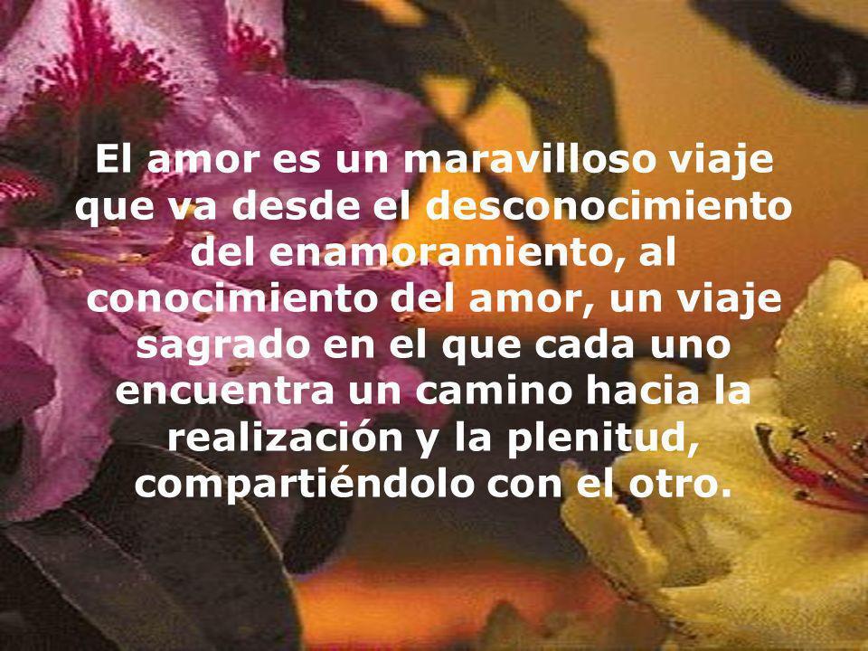 El amor es un maravilloso viaje que va desde el desconocimiento del enamoramiento, al conocimiento del amor, un viaje sagrado en el que cada uno encue