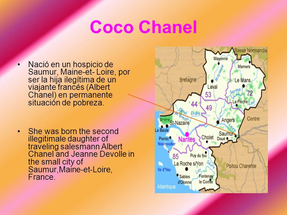 Nació en un hospicio de Saumur, Maine-et- Loire, por ser la hija ilegítima de un viajante francés (Albert Chanel) en permanente situación de pobreza.