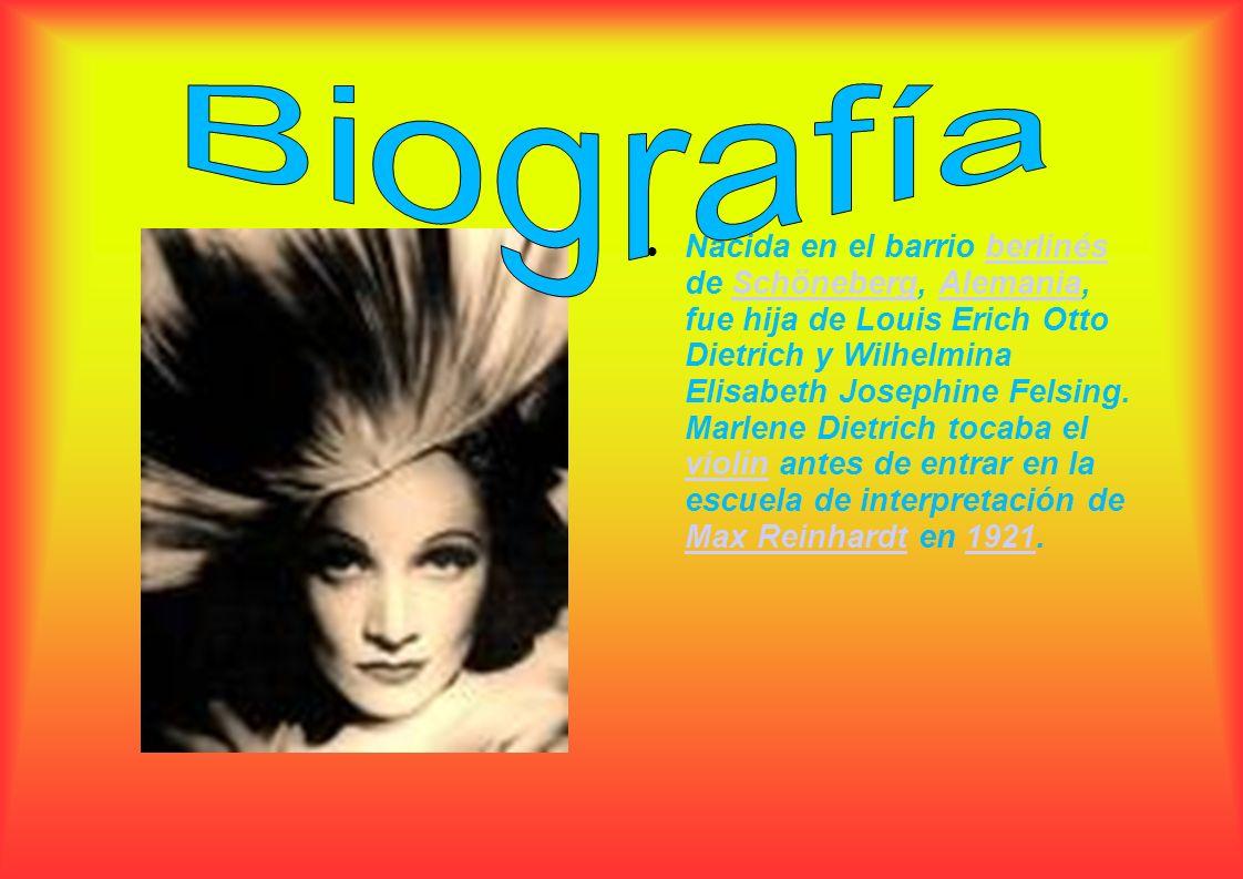 Nacida en el barrio berlinés de Schöneberg, Alemania, fue hija de Louis Erich Otto Dietrich y Wilhelmina Elisabeth Josephine Felsing. Marlene Dietrich