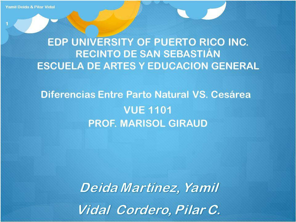 Yamil Deida & Pilar Vidal 1 EDP UNIVERSITY OF PUERTO RICO INC. RECINTO DE SAN SEBASTIÁN ESCUELA DE ARTES Y EDUCACION GENERAL Diferencias Entre Parto N