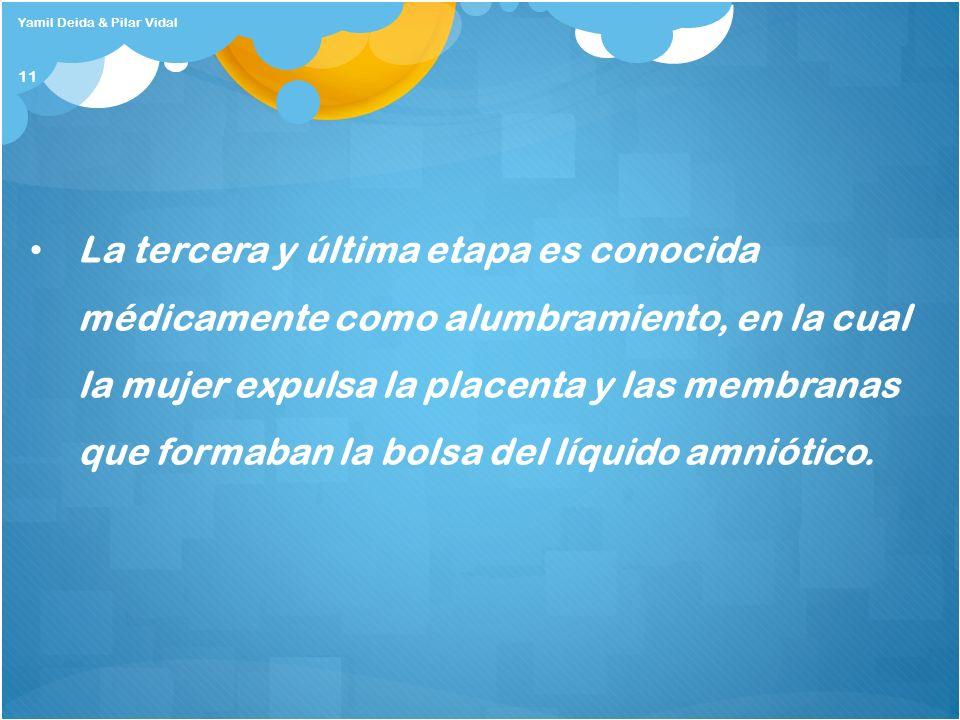 Yamil Deida & Pilar Vidal 11 La tercera y última etapa es conocida médicamente como alumbramiento, en la cual la mujer expulsa la placenta y las membr