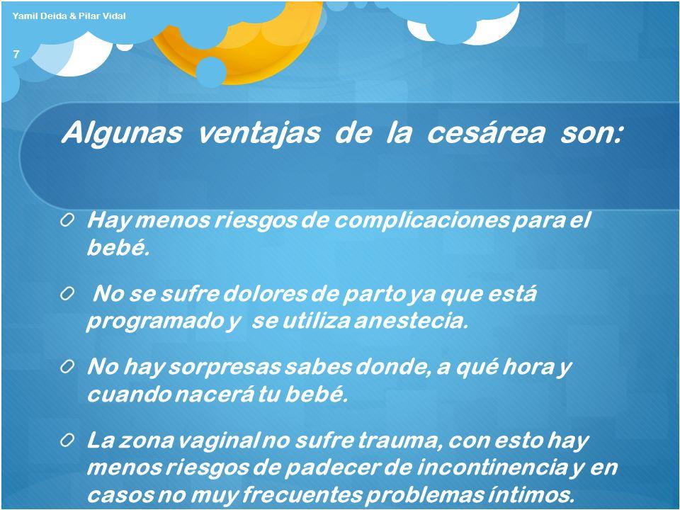 Algunas ventajas de la cesárea son: Hay menos riesgos de complicaciones para el bebé. No se sufre dolores de parto ya que está programado y se utiliza
