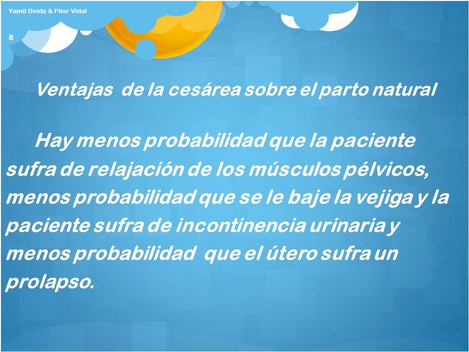 8 Ventajas de la cesárea sobre el parto natural Hay menos probabilidad que la paciente sufra de relajación de los músculos pélvicos, menos probabilida