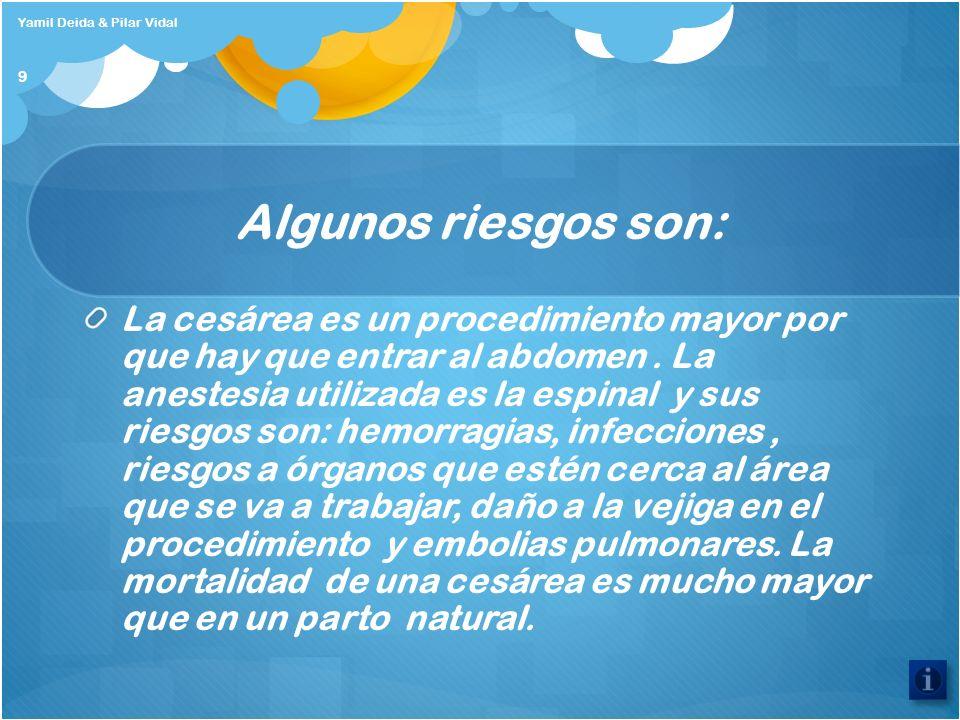 Algunos riesgos son: La cesárea es un procedimiento mayor por que hay que entrar al abdomen. La anestesia utilizada es la espinal y sus riesgos son: h