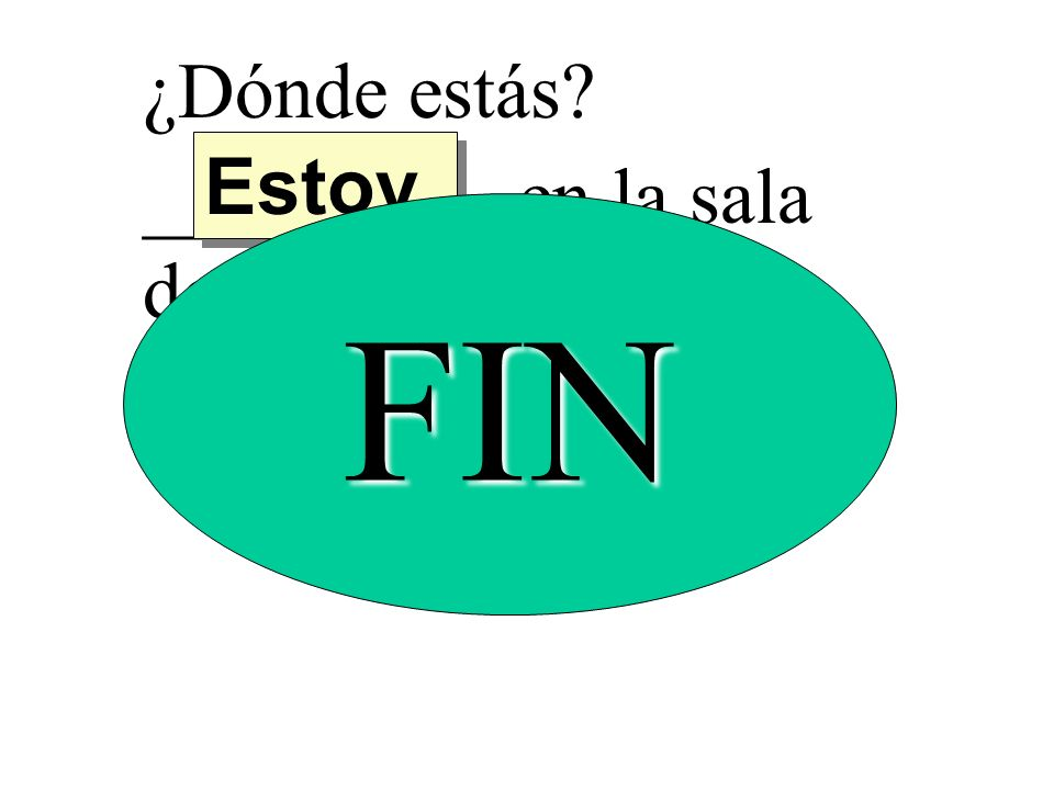 ¿Dónde estás? _________ en la sala de español. Estoy FIN