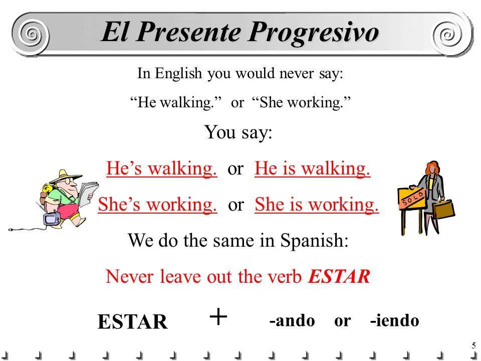 4 Present progressive = -ing Infinitivoparticiple hablar hablando comer comiendo vivir viviendo estudiar estudiando pensar pensando * jugar jugando *