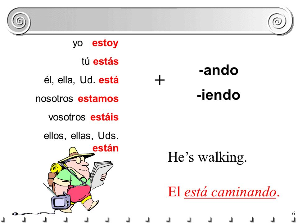 5 In English you would never say: He walking. or She working. You say: Hes walking. or He is walking. Shes working. or She is working. ESTAR + -ando o