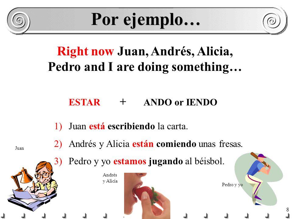 8 Por ejemplo… 1)Juan está escribiendo la carta.2)Andrés y Alicia están comiendo unas fresas.