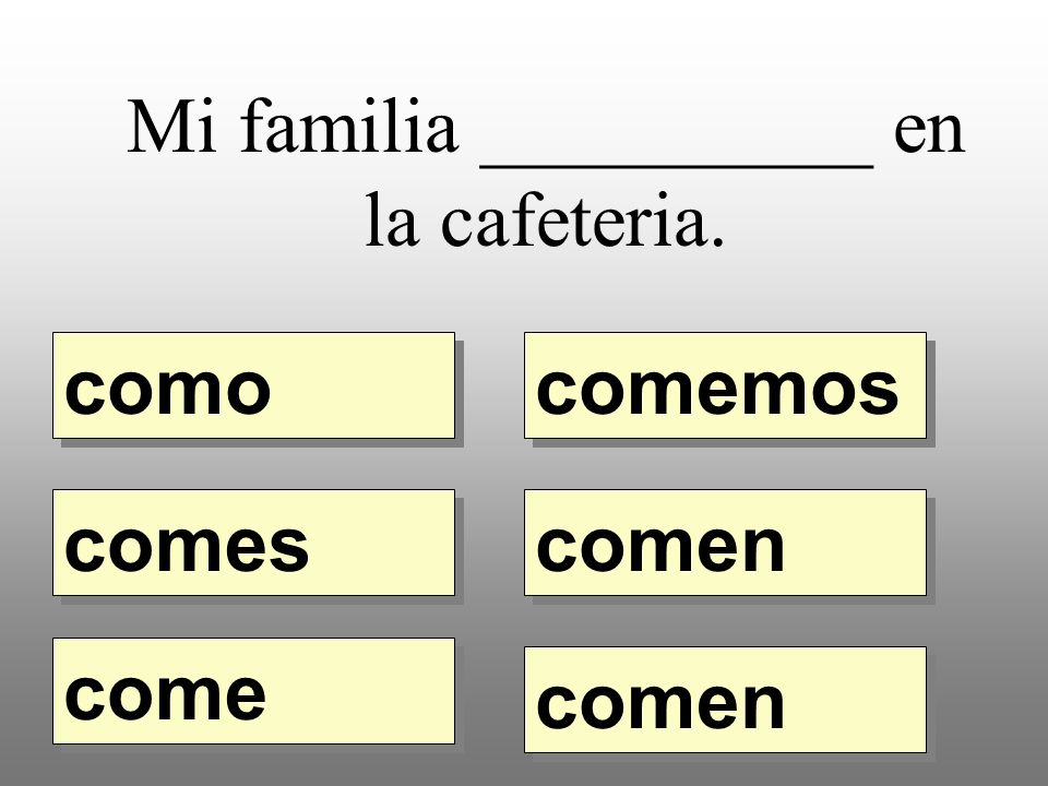 Mi familia __________ en la cafeteria. como comemos comes come comen