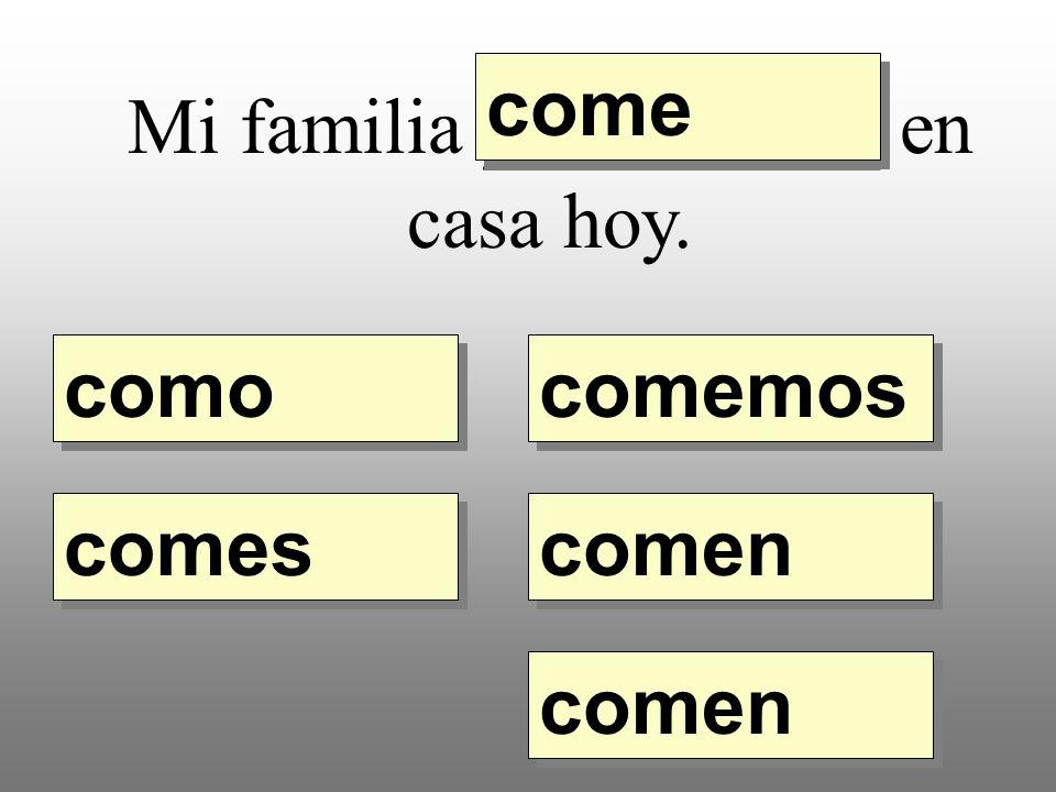 Mi familia __________ en casa hoy. como comemos comes come comen