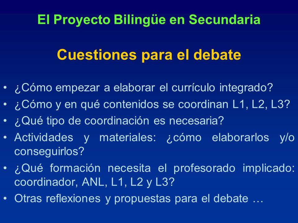 El Proyecto Bilingüe en Secundaria Cuestiones para el debate ¿Cómo empezar a elaborar el currículo integrado? ¿Cómo y en qué contenidos se coordinan L