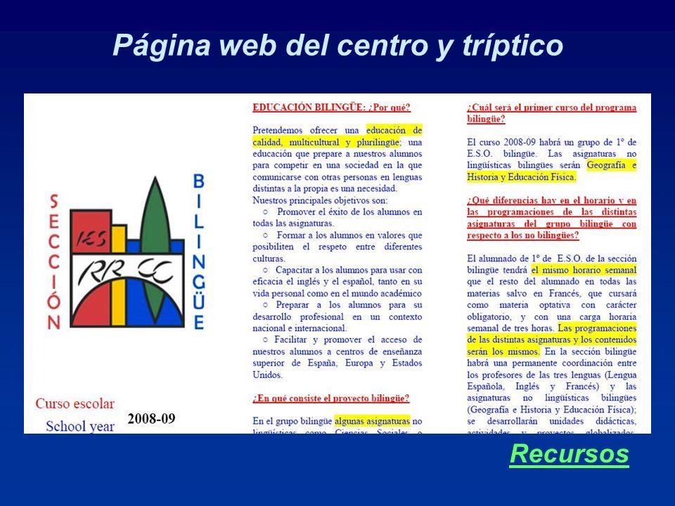 Página web del centro y tríptico Recursos