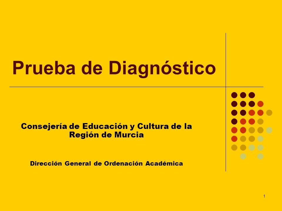 1 Prueba de Diagnóstico Consejería de Educación y Cultura de la Región de Murcia Dirección General de Ordenación Académica