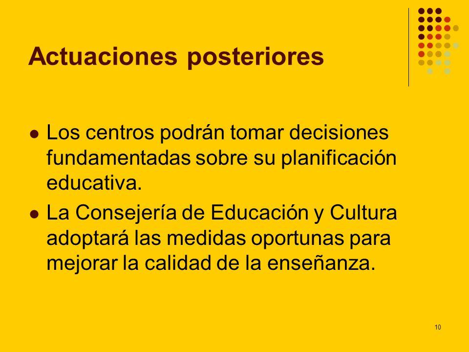 10 Actuaciones posteriores Los centros podrán tomar decisiones fundamentadas sobre su planificación educativa. La Consejería de Educación y Cultura ad