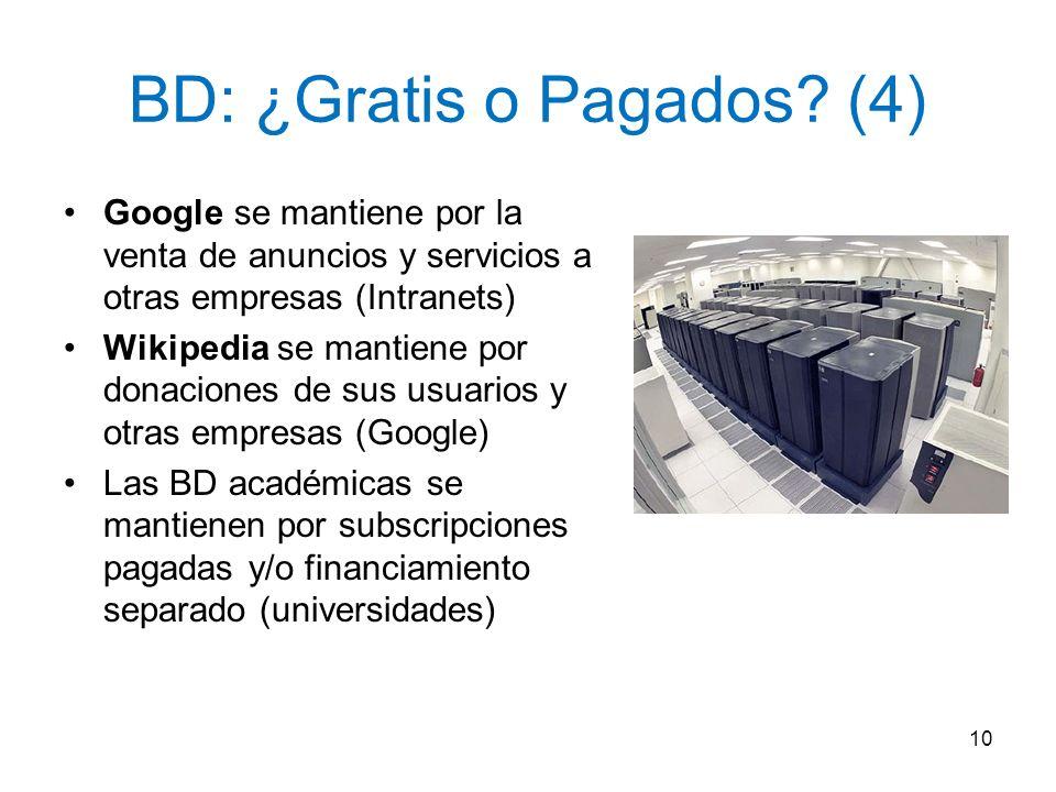 BD: ¿Gratis o Pagados? (4) Google se mantiene por la venta de anuncios y servicios a otras empresas (Intranets) Wikipedia se mantiene por donaciones d