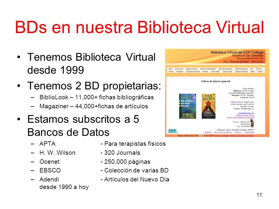 BDs en nuestra Biblioteca Virtual Tenemos Biblioteca Virtual desde 1999 Tenemos 2 BD propietarias: –BiblioLook – 11,000+ fichas bibliográficas –Magazi
