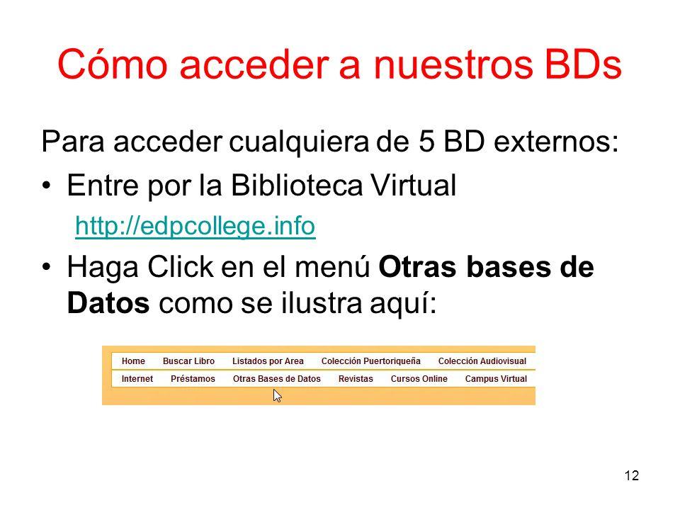 Cómo acceder a nuestros BDs Para acceder cualquiera de 5 BD externos: Entre por la Biblioteca Virtual http://edpcollege.info Haga Click en el menú Otr