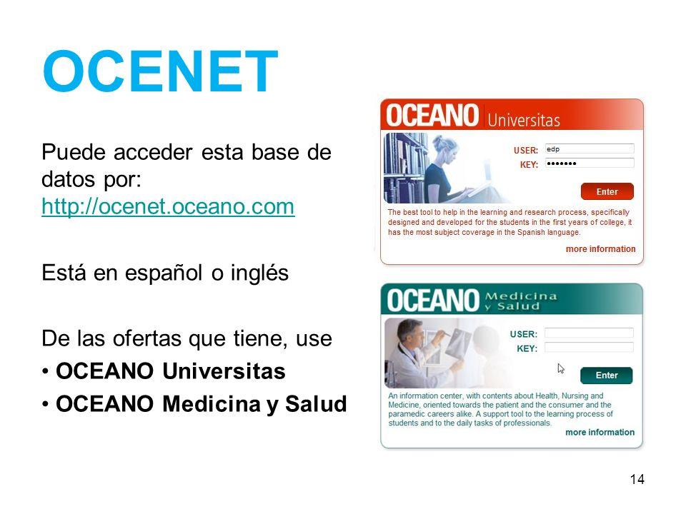 OCENET Puede acceder esta base de datos por: http://ocenet.oceano.com http://ocenet.oceano.com Está en español o inglés De las ofertas que tiene, use