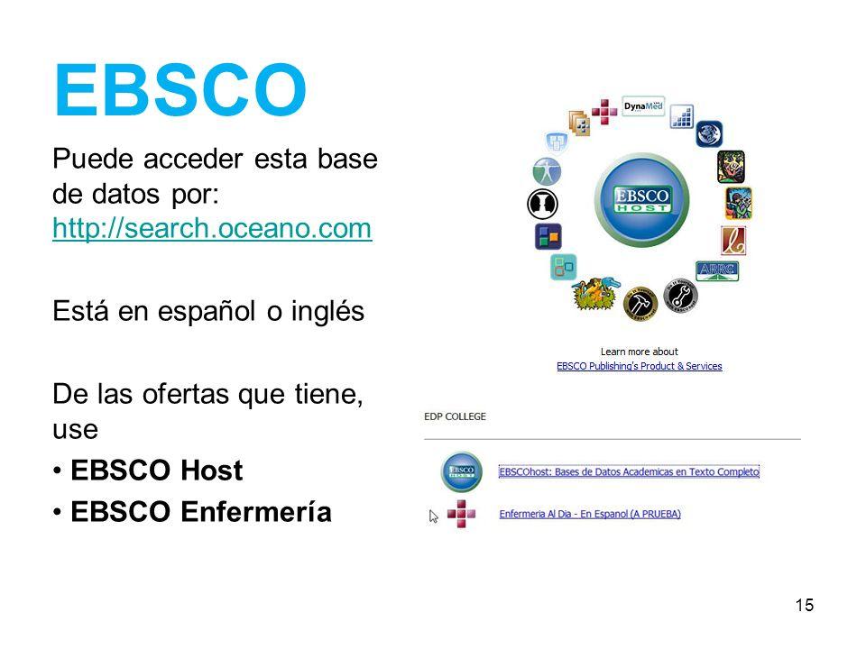 EBSCO Puede acceder esta base de datos por: http://search.oceano.com http://search.oceano.com Está en español o inglés De las ofertas que tiene, use E