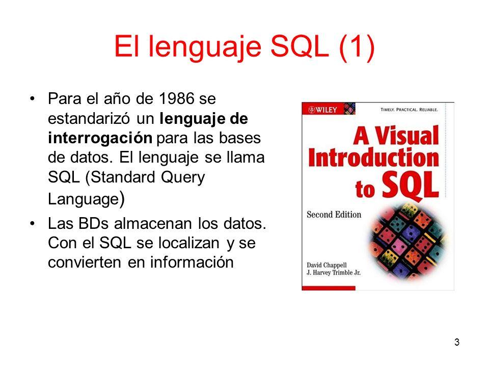 El lenguaje SQL (2) Ejemplo de una búsqueda a una base de datos con SQL SELECT DISTINCT TodosLosTítulos.Author_last_name, TodosLosTítulos.Author, TodosLosTítulos.Title, TodosLosTítulos.Subtitle, TodosLosTítulos.Edition, TodosLosTítulos.Call_1, TodosLosTítulos.Editorial_ID, TodosLosTítulos.Ciudad_ID, TodosLosTítulos.AñoDePub, LEFT (TodosLosTítulos.Author,1) AS Initial, Dates.ID, Dates.Date, Ciudad.Ciudad, Editoriales.Editorial FROM TodosLosTítulos, Dates, Ciudad, Editoriales WHERE ( ([Dates.ID] = [AñoDePub]) AND ( [TodosLosTítulos.SubjectTracing] LIKE ( % + .