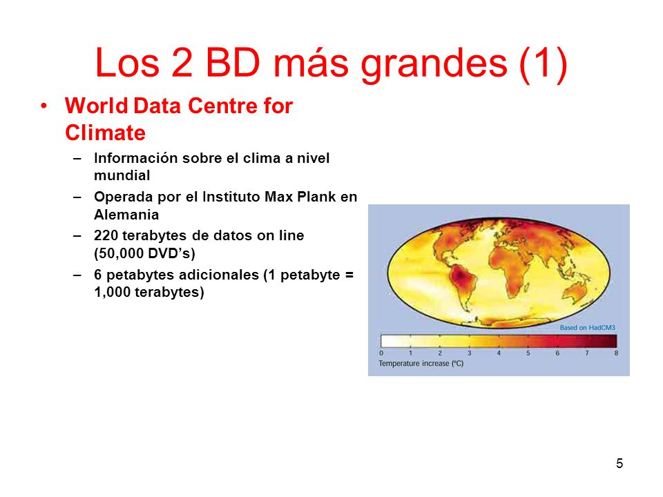 Los 2 BD más grandes (1) World Data Centre for Climate –Información sobre el clima a nivel mundial –Operada por el Instituto Max Plank en Alemania –22