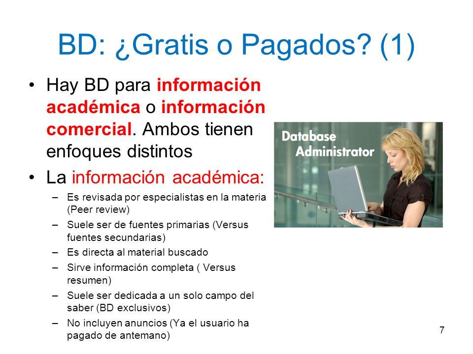 BD: ¿Gratis o Pagados? (1) Hay BD para información académica o información comercial. Ambos tienen enfoques distintos La información académica: –Es re