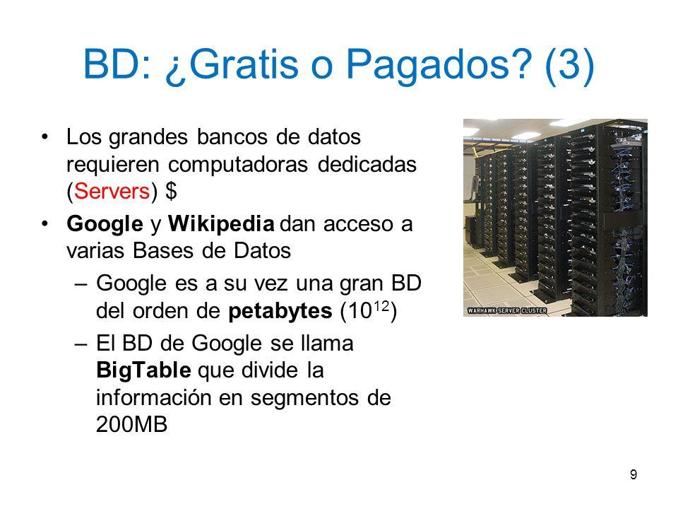 BD: ¿Gratis o Pagados? (3) Los grandes bancos de datos requieren computadoras dedicadas (Servers) $ Google y Wikipedia dan acceso a varias Bases de Da