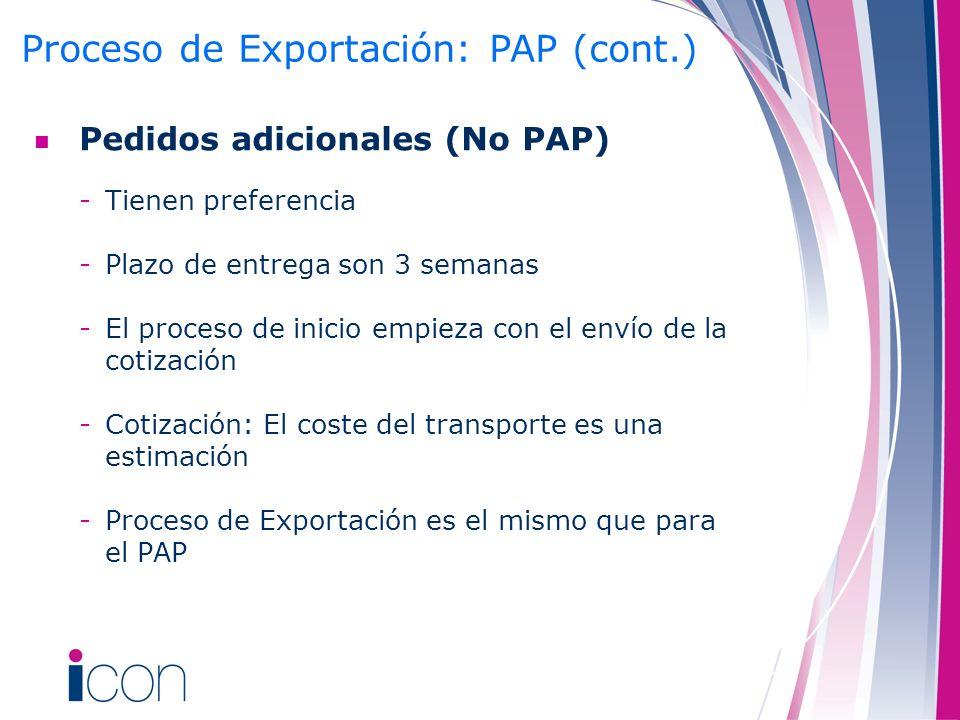 Pedidos adicionales (No PAP) -Tienen preferencia -Plazo de entrega son 3 semanas -El proceso de inicio empieza con el envío de la cotización -Cotizaci